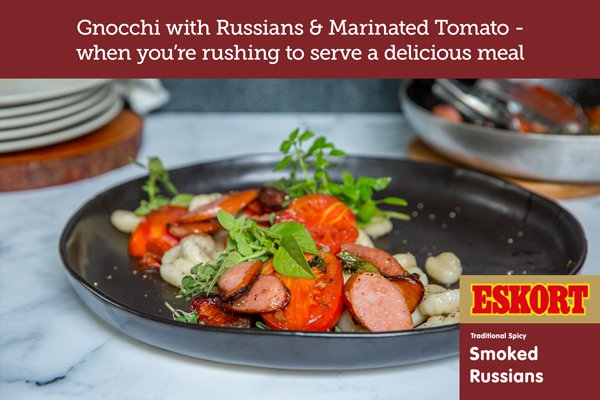 Gnocchi with Smoked Russians and Marinated Tomatoes