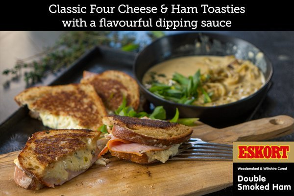 Ham and Grilled Cheese Toastie with a Chilli and Beer Sauce