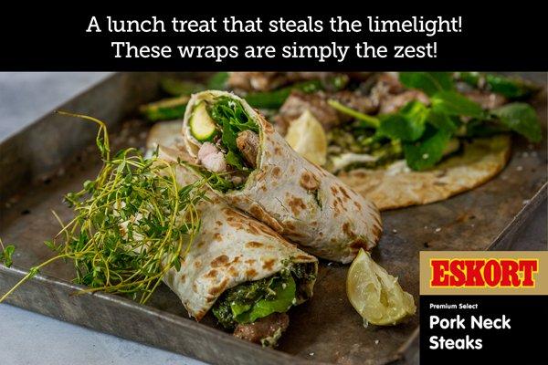 Pork Steak Wraps with Lime and Basil Pesto