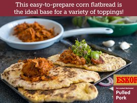 Spicy Corn Flatbread with Pulled Pork & Red Onion Salsa