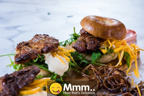 Prego Steak Bagel with Butternut Pickle and Deep-Fried Red Onions