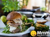 Pork & Pear Burger with Kale & Potato Skin Chips