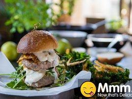 Pork & Pear Burger with Kale & Potato Skin Chips