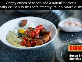 Creamy Herb Polenta with Crispy Bacon, Cherry Tomatoes & Fried Eggs