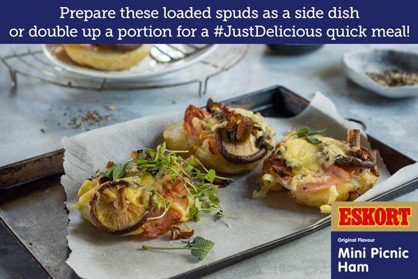 Ham & Wild Mushroom Baked Potatoes
