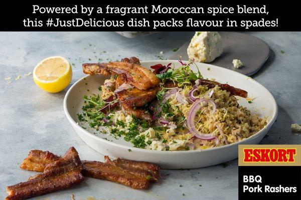 Crispy BBQ Rashers with Spicy Gorgonzola & Lemon Wild Rice