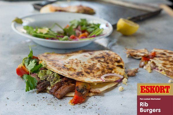 Spicy Rib Burger Quesadillas with Guacamole & Salsa