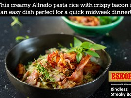 Alfredo Pasta Rice with Streaky Bacon