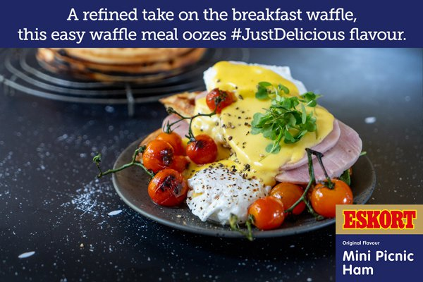 Benedict Waffle with Ham & Hollandaise Sauce