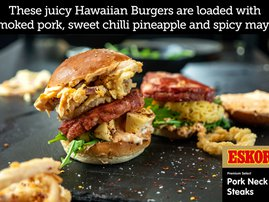 Hawaiian Smoked Pork Neck Burger with Crispy Onion Rings