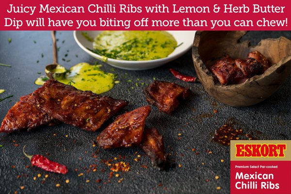 Mexican Chilli Ribs with Lemon & Herb Butter Dip / Supplied