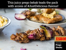 Prego Kebab on Fried Flatbread with Spiced Butter & Red Onion Yoghurt Dressing