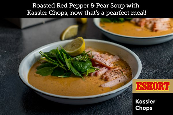 Roasted Red Pepper and Pear Soup with Kassler Chops