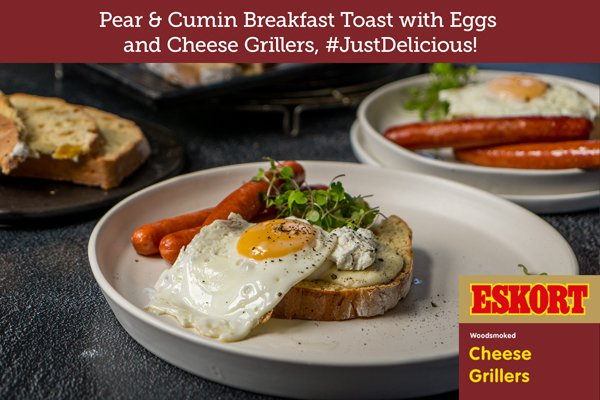 Pear and Cumin Breakfast Toast with Eggs and Cheese Grillers