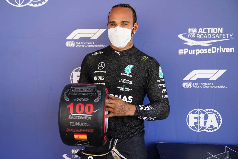 Lewis Hamilton claims 100th pole