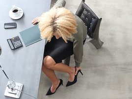Woman in office wearing heels
