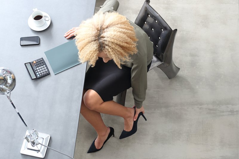 Woman in office wearing heels
