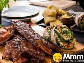 Marinated Loin Ribs with Stuffed Spinach and Corn Bread