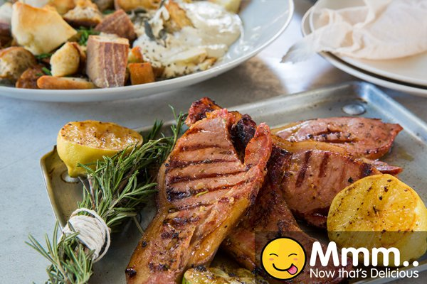 Whiskey Butter Kasler Chops & Bread salad with Onion