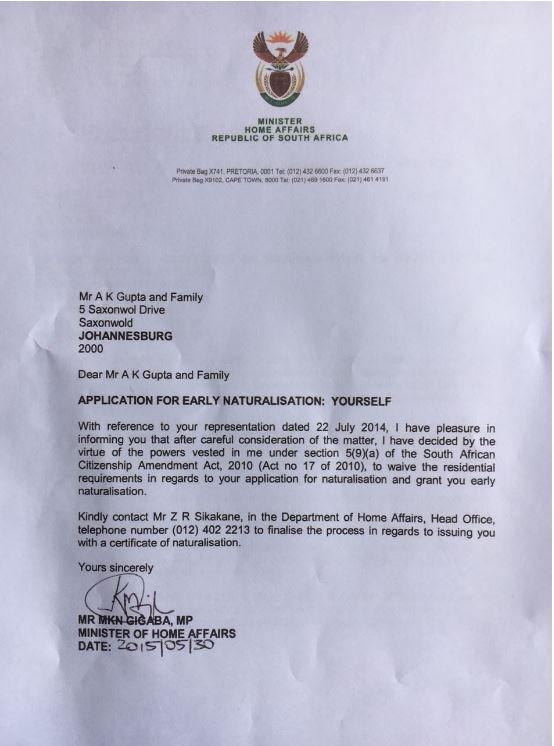 EFF: Gigaba illegally granted Guptas citizenship
