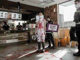 Vegan spills bloodlike paint in KFC