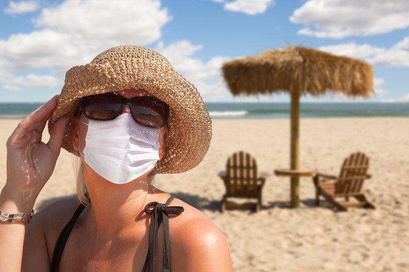 Vacationing Woman Wearing Face Mask