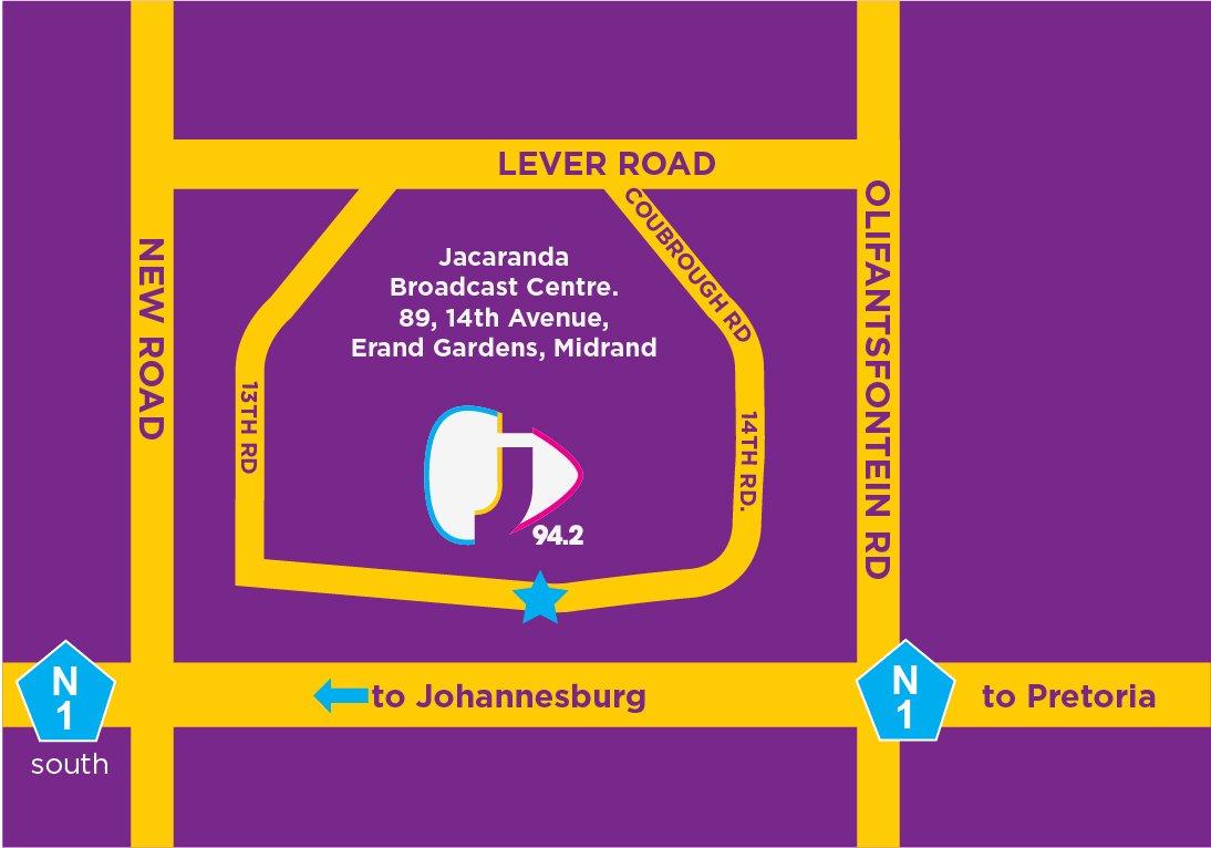 How to get to the Jacaranda FM studios.