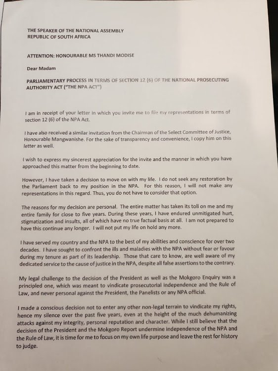 Nomgcobo Jiba letter to parly 1