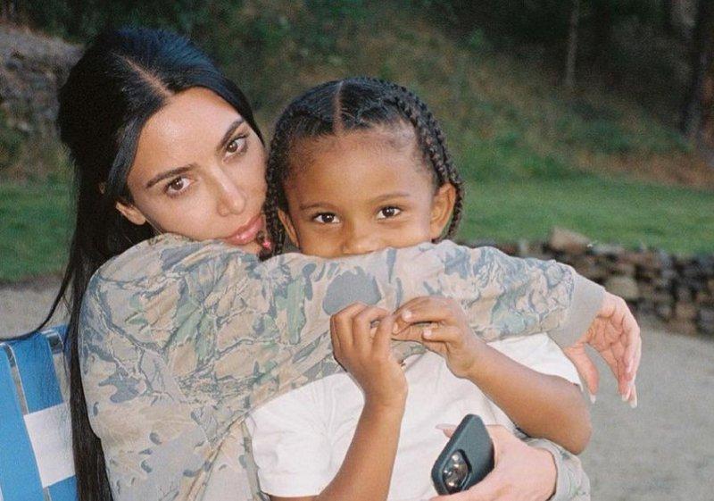 Kim Kardashian and her son Saint