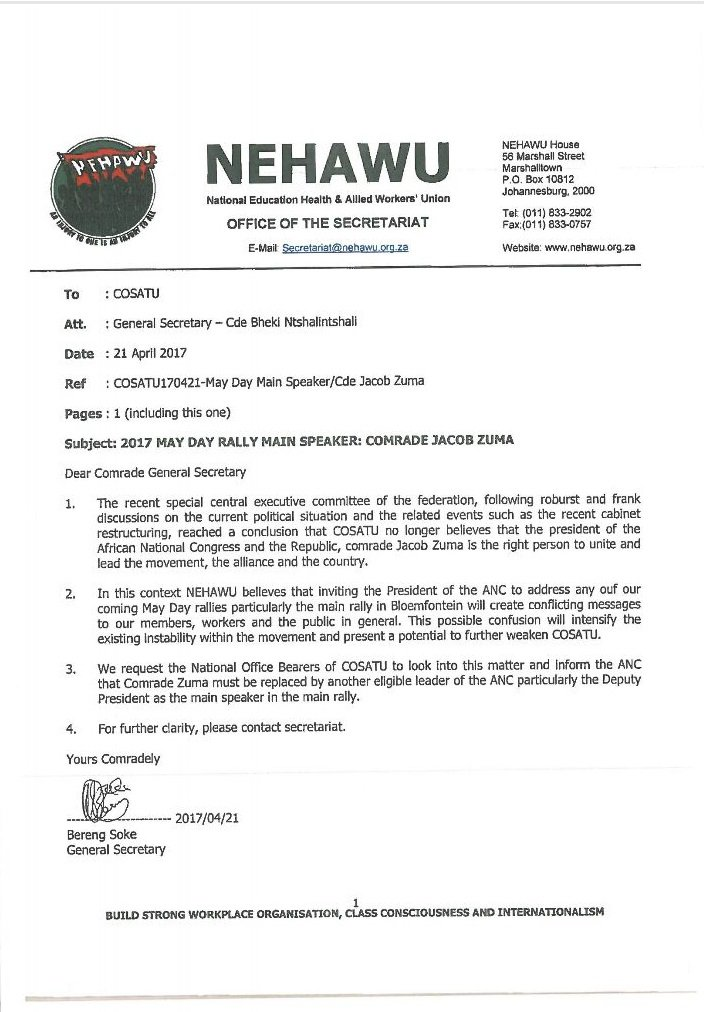 Leaked nehawu letter calls for zuma to be disinvited from workers leaked nehawu letter calls for zuma to be disinvited from workers day rally ccuart Gallery
