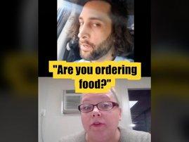man orders food