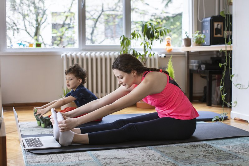 Mom and child exercising