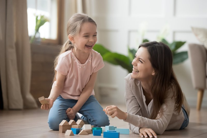Mom and child playing
