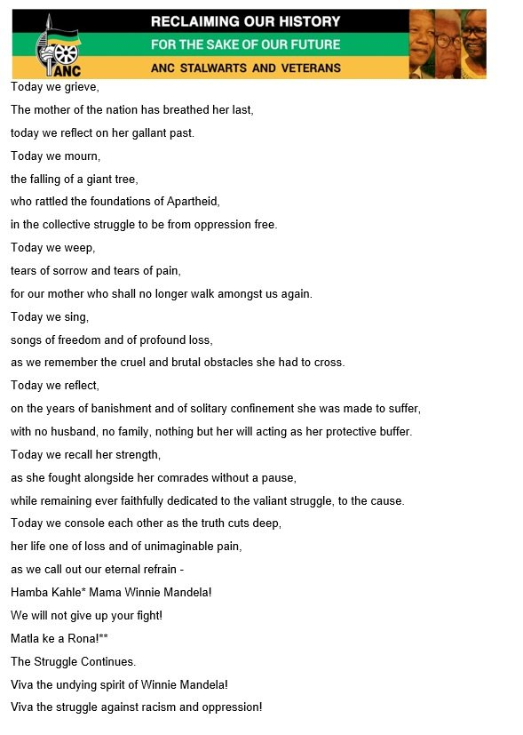 Stalwarts Poem to Winnie
