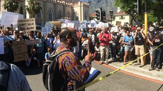 Protestors gather as Gordhan gets ready to deliver medium term budget speech