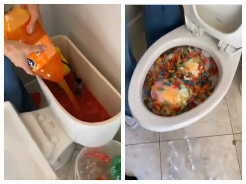 punch in toilet bowl