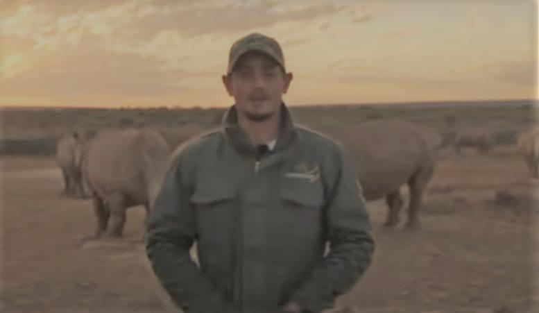 Quinton de Kock in a rhino awareness video