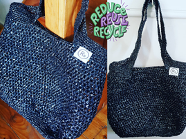 Recycling old bread bags into shopping bags