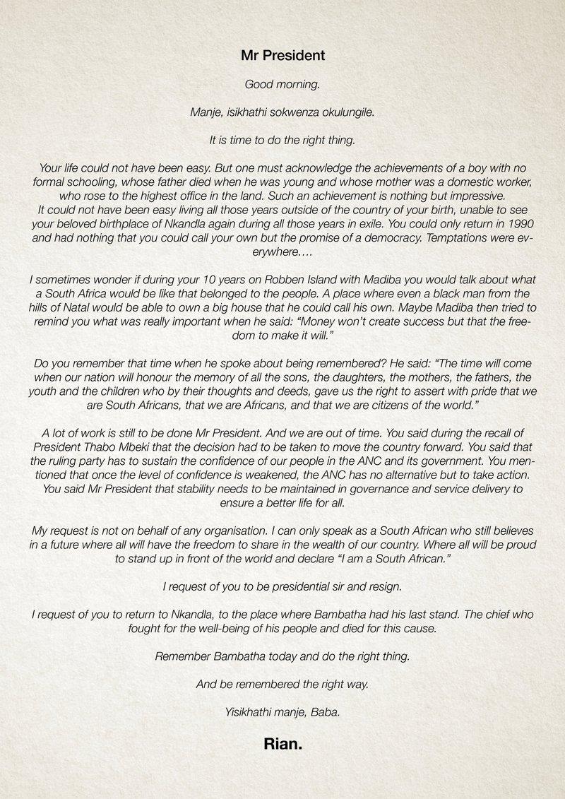 Rian Van HeerdenS Open Letter To President Jacob Zuma