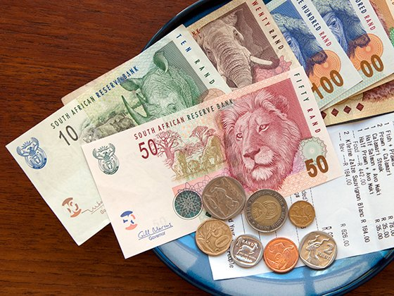 South African money and bill