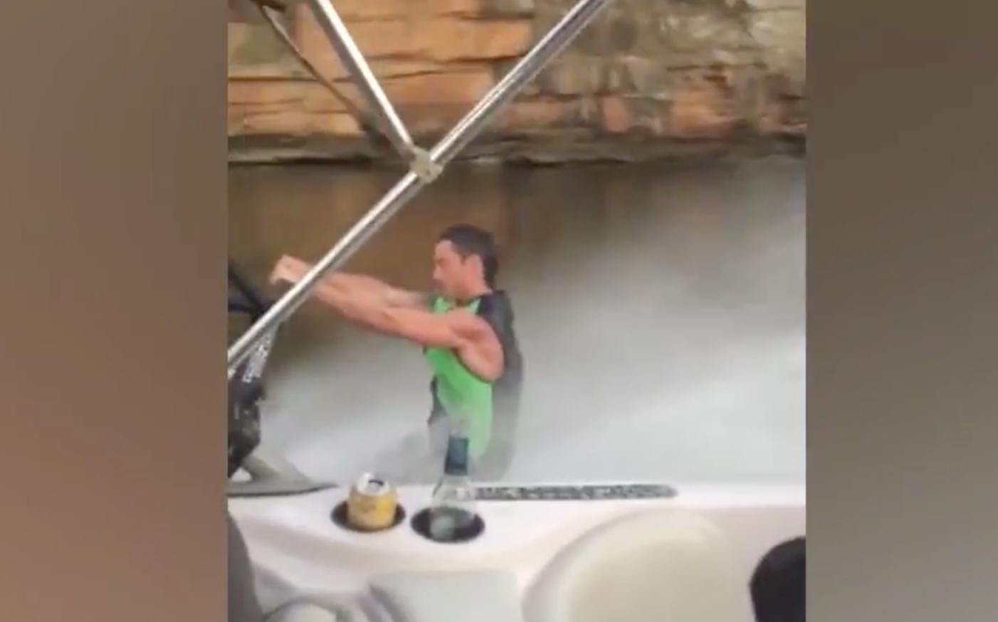 water skier falls in water
