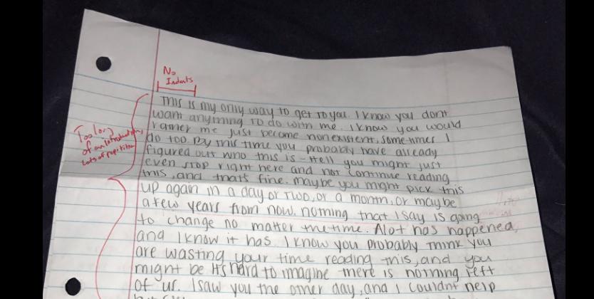 man grades letter to ex