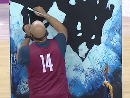 artist paints national anthem