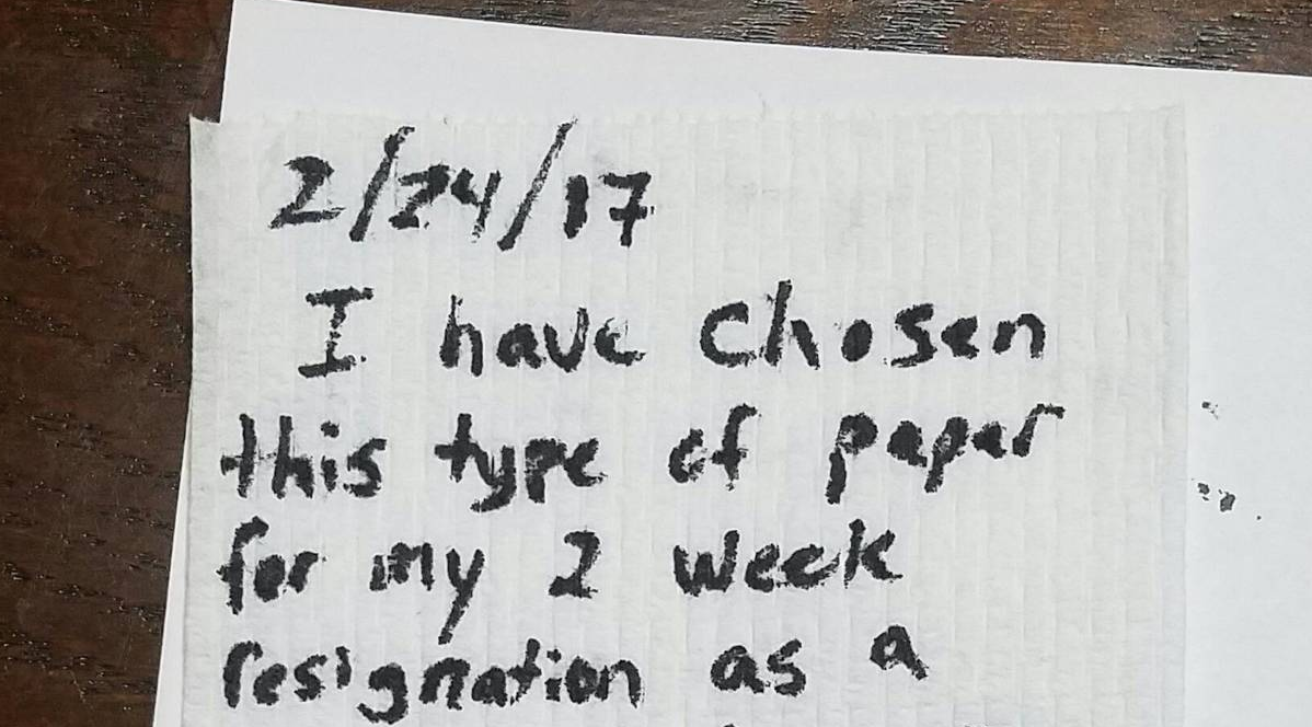 man quits job by handing in resignation letter on toilet paper