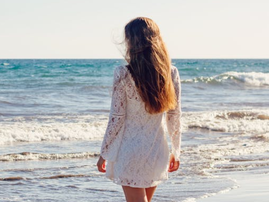 woman on beach pexels