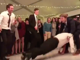 Dad falls after challenging son to dance off