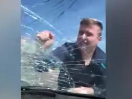 father breaks windscreen youtube