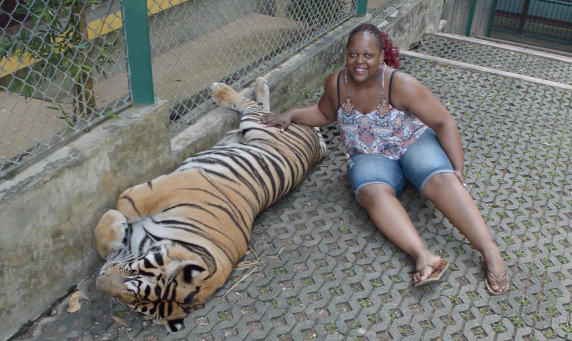 Carol with a tiger