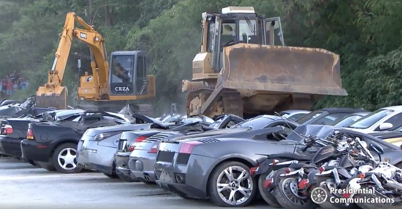 Luxury cars destroyed