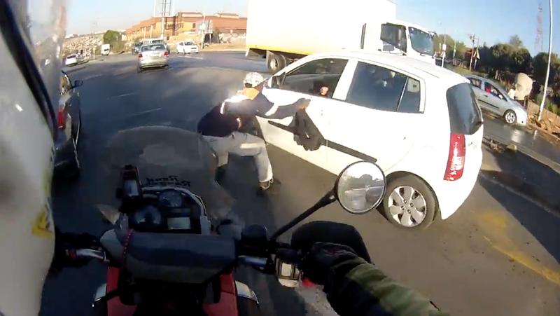 Biker foils smash-and-grab
